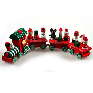 Hot New Cute 4 Piece Wood Christmas Train Ornament Decoration Decor Gift = 1946258372