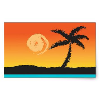 Island Sunset Rectangular Sticker