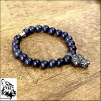 Luxury Custom Fit Bracelet with Snarling Viking Fenrir Wolf and Lapis Lazuli Beads