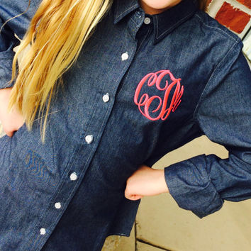 Monogram Women's Chambray Shirt Font shown MASTER CIRCLE in bright pink