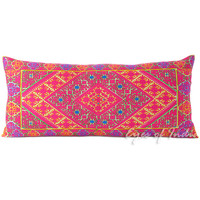 """Purple Embroidered Moroccan Bolster Decorative Sofa Pillow Cushion Cover - 32 X 14"""""""