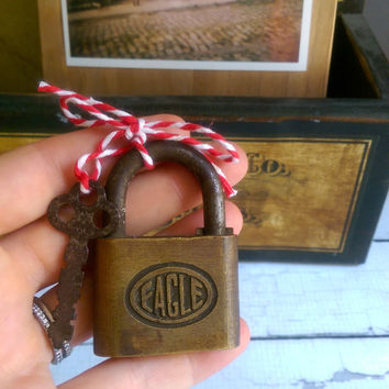 Vintage Love Lock/ Vintage Padlock/ Antique Lock and Key/ Working Vintage Padlock/ Eagle Brass Lock and Key
