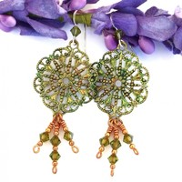 Victorian Vintage Green Filigree Earrings, Green Brass Swarovski Crystals Handmade Jewelry