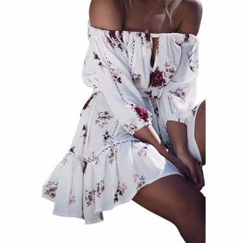 Bohemian Dress Cute Floral Print Summer Dress Sexy Slash Neck Off Shoulder Women White Beach Dresses Pleated Sexy Sundress GV805