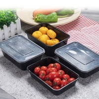 NEW!!!10Pcs 450ML Black Disposable Food Container Snack Packing Boxes Microwaveable PP Lunch Bento Box