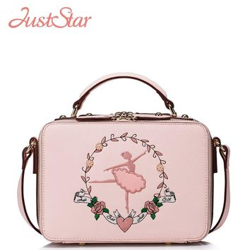 JUST STAR Women's PU Leather Handbags Ladies Fashion Ballet Dancer Embroidery Flap Tote Shoulder Purse Girl Messenger Bags J1013