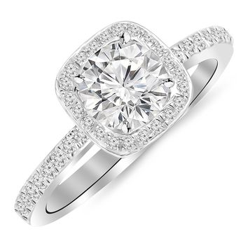 CERTIFIED | 1 Carat 14K White Gold Classic Halo Style Cushion Shape Diamond Engagement Ring with a 0.75 Carat G-H I2 Center