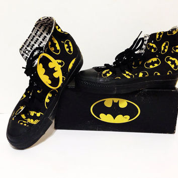 f025d0618789 Vintage 80s Batman CONVERSE All Star High Top Dead Stock NIB Sneakers Sz  7W 5M