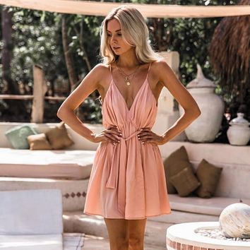 Deep V-neck V-back Spaghetti Straps Strap Women Loose Short Pleated Dress