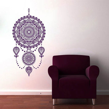 Wall Decal Dreamcatcher Vinyl Sticker Decals Art Home Decor  Mural  Dream Catcher Feathers Night Symbol Bedroom Dorm Hindu Om Mandala AL3