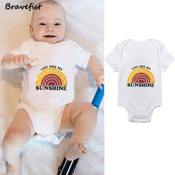 Rainbow Baby Boys Girls Bodysuits Cotton 0-24Months Summer Children Clothes Kids Jumpsuits YOU EAR MY SUNSHINE Letters Outfits