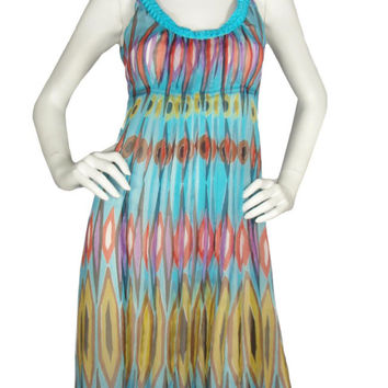 Tory Burch Turquoise Global Print Chiffon Dress / Sz 2