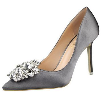 Silver Gold Gray Black Pink Women Bridal Wedding Shoes Faux Silk Satin Rhinestone Crys