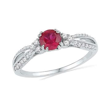 10kt White Gold Women's Round Lab-Created Ruby Solitaire Diamond Split-shank Ring 3/4 Cttw - FREE Shipping (US/CAN)