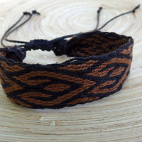 men bracelet, table weave braclet, woven bracalet, black brown arm band, colorful patterned cotton wrist band, boho jewelery, yarn jewelry