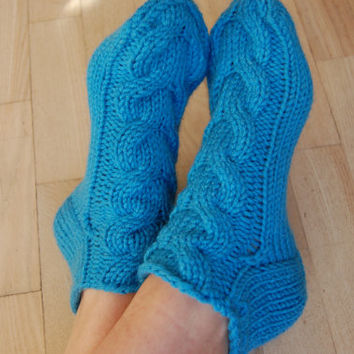 Hand knit wool slippers, Hand knit wool socks, Handmade, Hand knit slippers, Knitted Wool Socks, knitted wool slippers, Wool socks for women