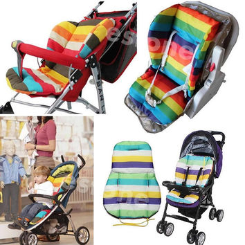 Thick Colorful Baby Infant floor mat Breathable Stroller Padding Liner Car Seat Seat Pushchair Pram Cushion Cotton Mat A4282