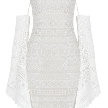 'Bendita' Off Shoulder Lace Dress - White
