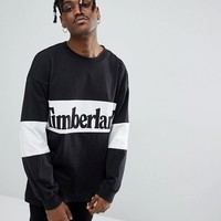 Timberland Oversized Linear Horizontal Logo Long Sleeve Top in Black at asos.com