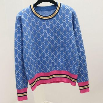 ONETOW GUCCI new autumn and winter wild round neck striped sweater knit shorts Blue