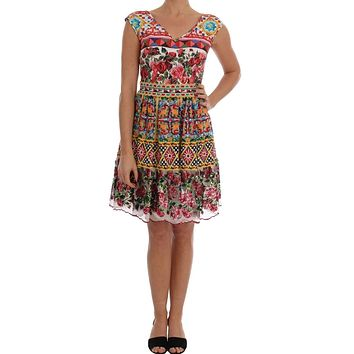 Dolce & Gabbana Multicolor Sicilian Printed Embrodered Floral Dress