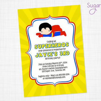 Superman Birthday Invitation, Superhero Party Invitation, Superman Party Invitation, Super Hero Birthday Invitation, PRINTABLE