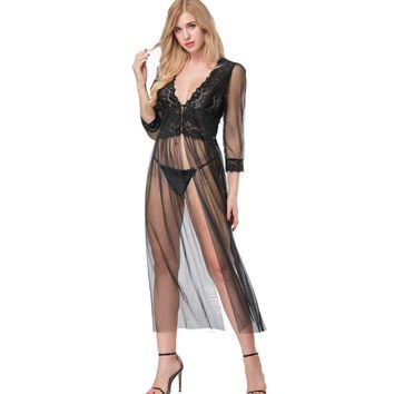 Womens Sleepwear Mesh and Lace Nightgown Lingerie Babydoll Nightie Slip Dress