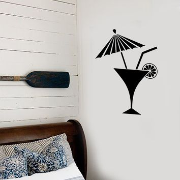 Vinyl Decal Bar Cocktail Umbrella Martini Drink Beach Bar Alcohol Mojito Pop Art Cool Decor For a Bar Unique Gift (z2633)