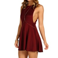 Burgundy Open Sides Skater Dress