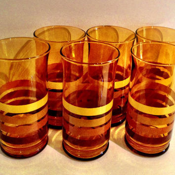Cool Vintage 1970s Amber Glass w Stripes Drinking Glasses