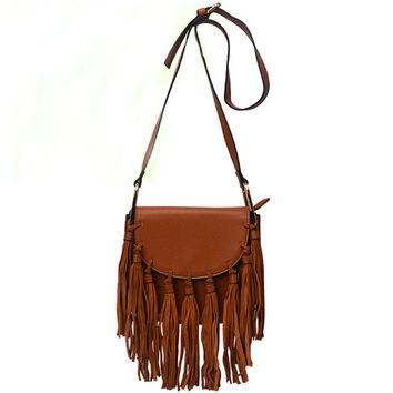 Earth Yellow Edge Tassel Mini Shoulder Bag