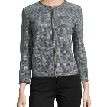 Women's Lambskin Leather Perforated Jacket - Armani Collezioni - Porcelain multi
