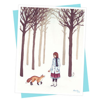 Winter White Girl and Fox Card