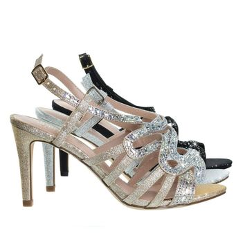 Rita6 Nude Gold By Blossom, High Heel Open Toe Evening Party Sandal w Rhinestone & Glitter