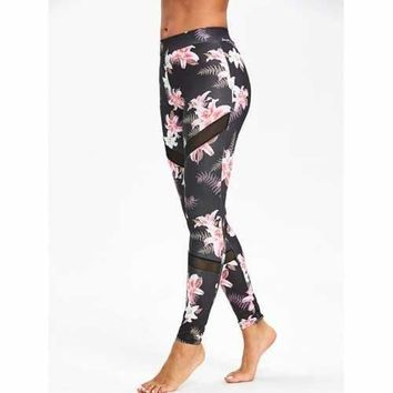 High Waist Floral Print Mesh Panel Leggings - S