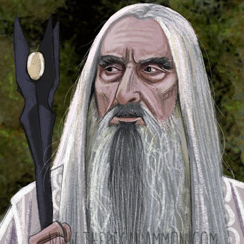Saruman the White Art Print - 8 x 10 Digital Painting - The Lord of The Rings Poster- The Hobbit Wall Art - Christopher Lee Portrait