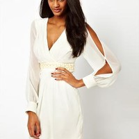 Lipsy Cold Shoulder Dress with Beaded Waistband