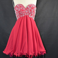 Sweetheart Chiffon Organza beads Satin Strapless Party Homecoming Bridesmaid Dress