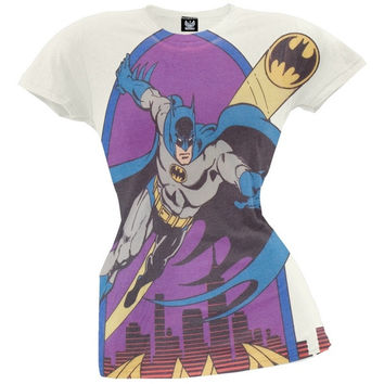 Batman - Bat Signal Juniors Soft T-Shirt (Size: XL, Color: Off white) = 1927963140