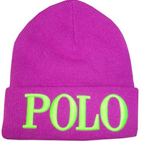 Polo Ralph Lauren Womens Wool Blend Knit Beanie Hat Skull Cap Neon Purple