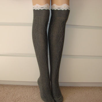 Grey knee high socks, Over the knee socks with lace trim, boot socks Knit Leg Warmers, Girl Woman sexy Long Socks, diamond Pattern