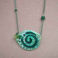 Green polymer clay pendant Hand painted green swirl pendant Green tribal pendant hand-painted polymer clay one of a kind Ethnic pendant