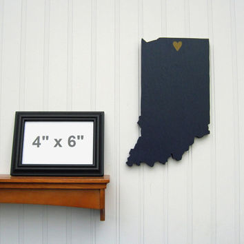 "Notre Dame Fighting Irish ""State Heart"" wall art, handcrafted wood with official team colors"