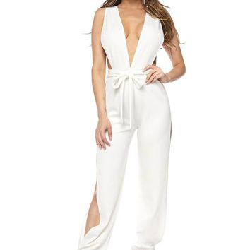 White Plunging Neckline Side Slit Jumpsuit