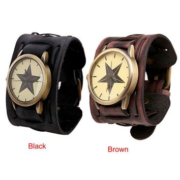 Men New Style Retro Punk Rock Brown Big Wide Leather Bracelet Cuff Men Watch Cool Comfortable High Qulity Hot Maketing M1