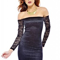 Black Lace Bodycon Dress with Off the Shoulder Long Sleeves