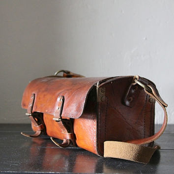 Vintage Leather Work Bag - French Tool Satchel