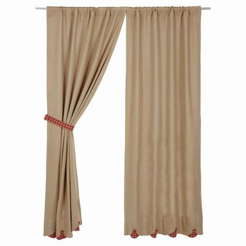 Burlap with Red Check Panel Curtains
