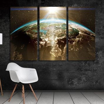 wall Picture World Map Canvas Painting Wall Modular Picture For Living Room Classical Europe Watercolor decoration Print