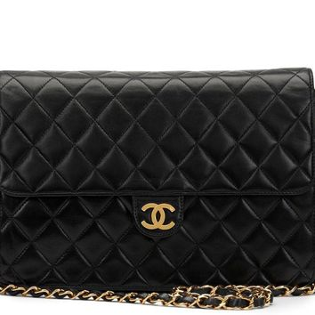 CHANEL BLACK QUILTED LAMBSKIN VINTAGE CLASSIC SINGLE FLAP BAG HB1151